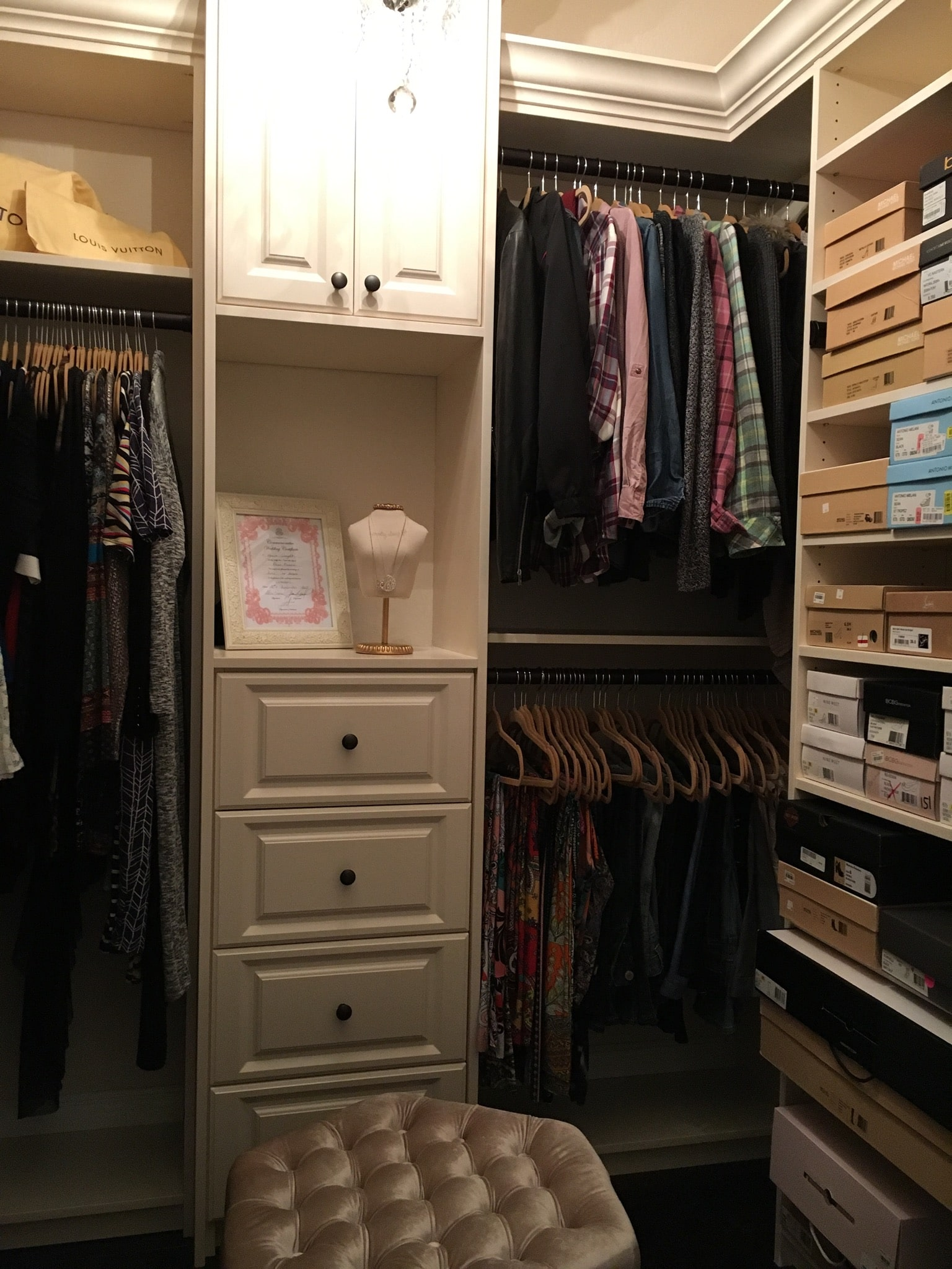 Custom-Closet-Tan-With-Clothing
