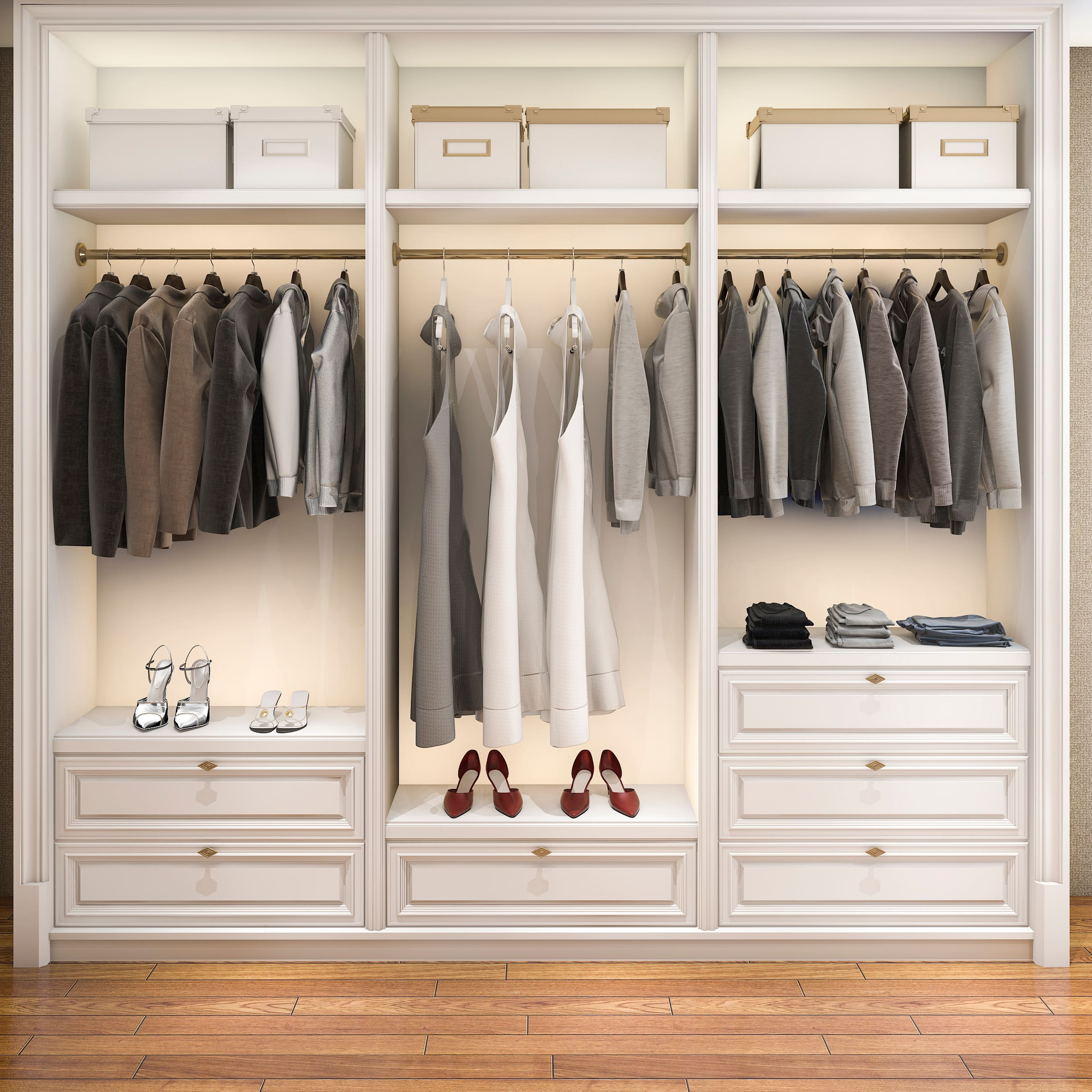 Custom Closet with shoes on display