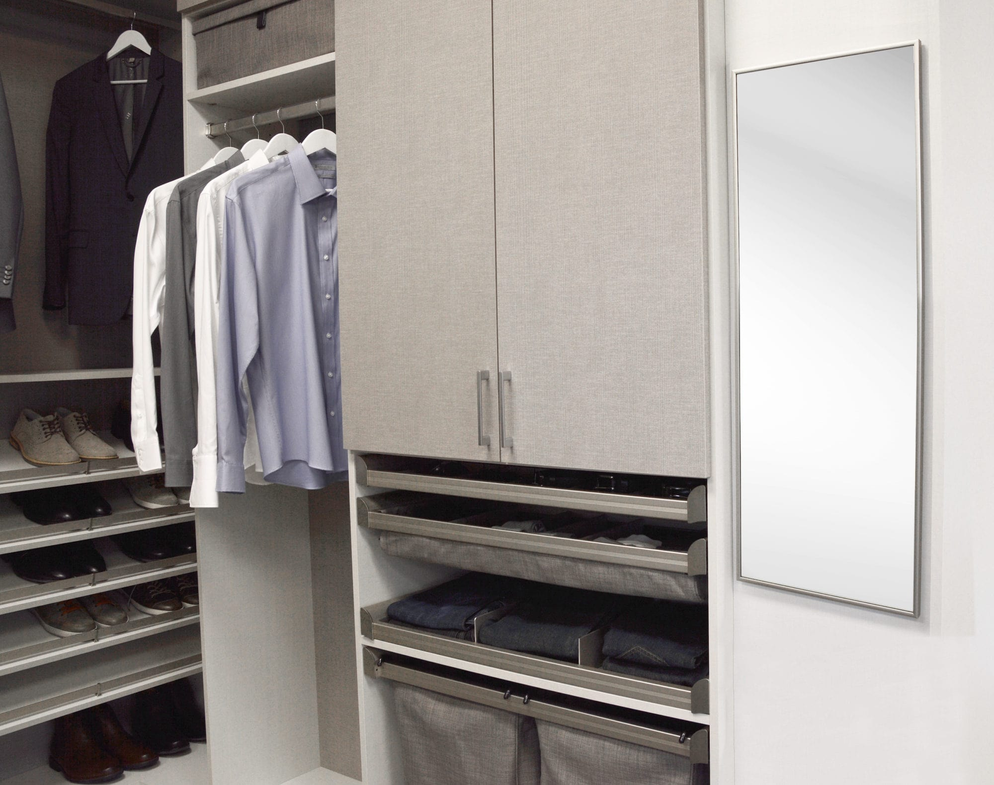 Custom Closet with grey colors