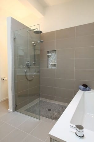 Custom Shower that has one door open