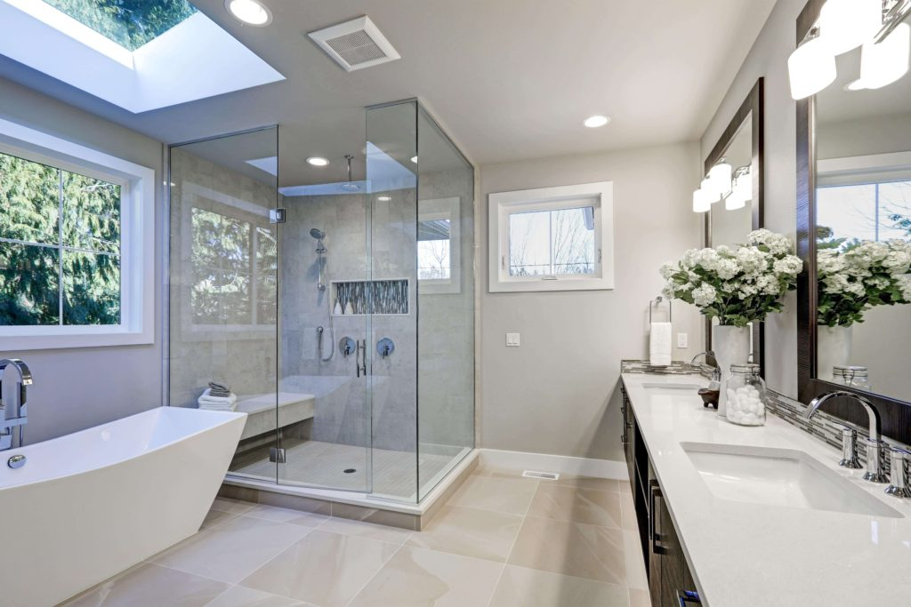 Custom Shower with skylight