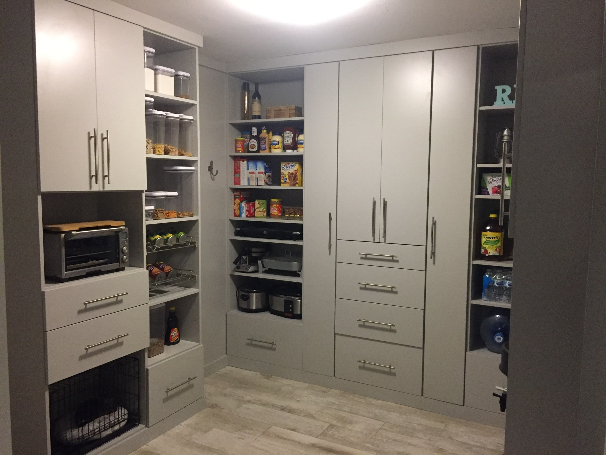 Custom Pantry with grey cabinets