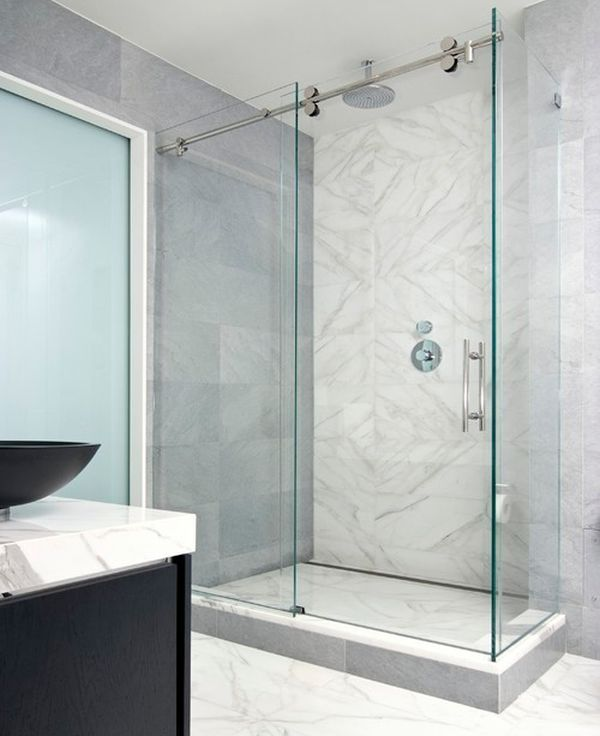 Custom Shower Semi-Frameless with blue light