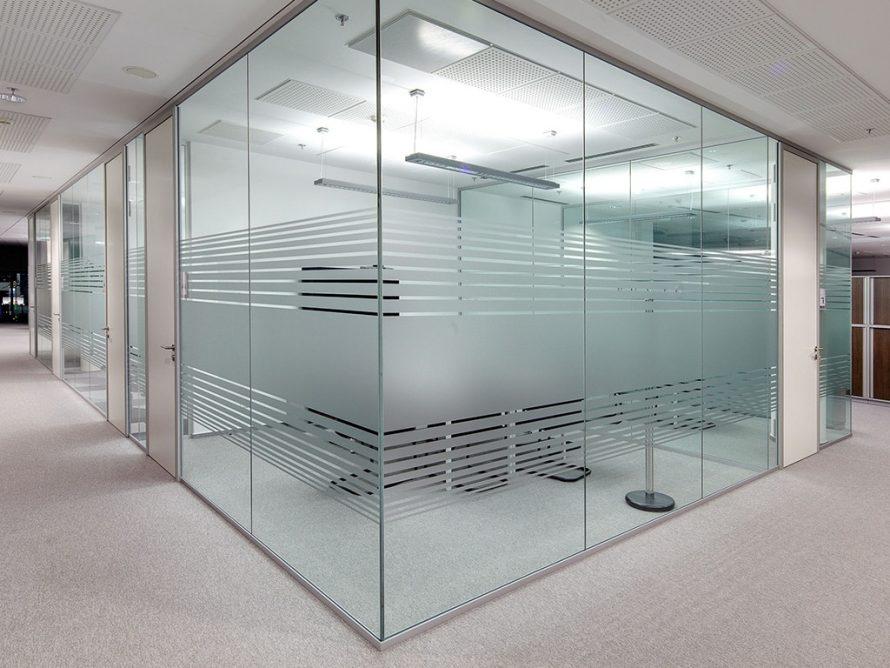 glass offices laser etched acid washed