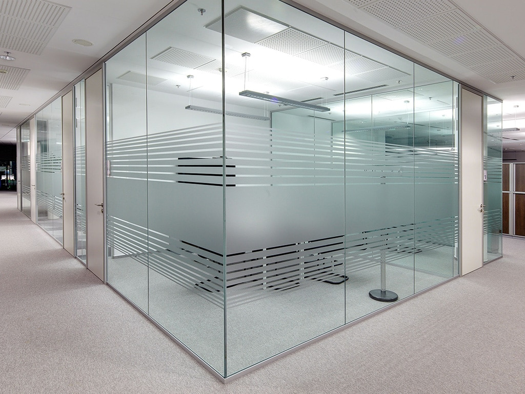 glass offices laser etched acid washed